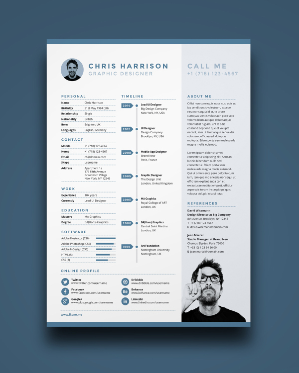 Free job resume template modern resume template elegant resume 10 free resume templates for artists resume template free yelopaper Images